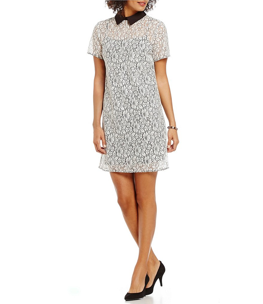 MICHAEL Michael Kors Point Collar Chantilly Lace Shirt Dress