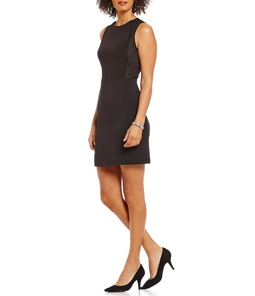 MICHAEL Michael Kors Embellished Tulle Insert Stretch Knit Dress