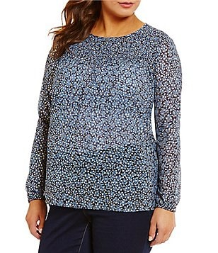 MICHAEL Michael Kors Plus Bayeux Floral Foil Printed Georgette Smocked Yoke Top