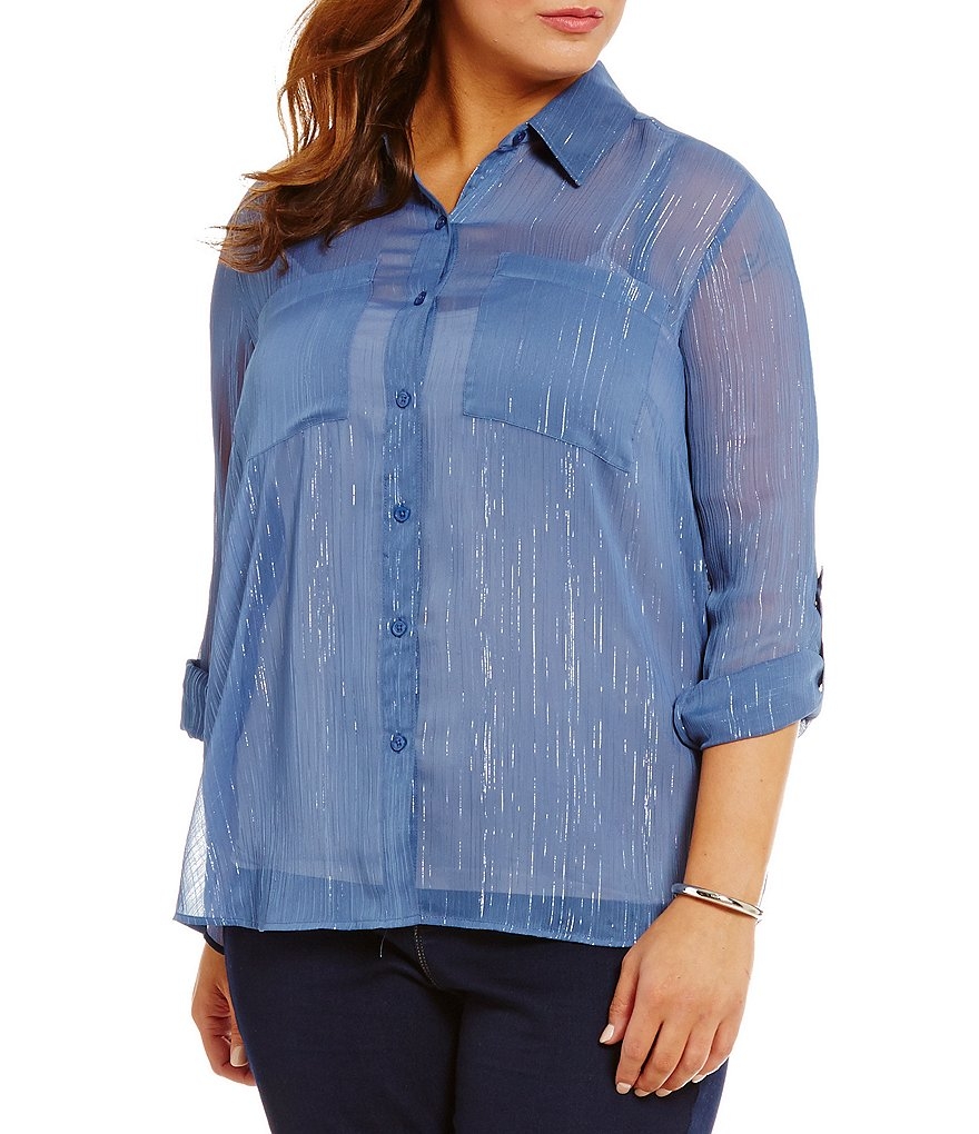MICHAEL Michael Kors Plus Crinkled Metallic Georgette Shirt