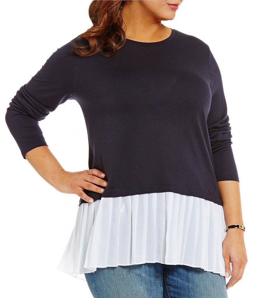 MICHAEL Michael Kors Plus Pleated Georgette Hem Fine Gauge Knit Top