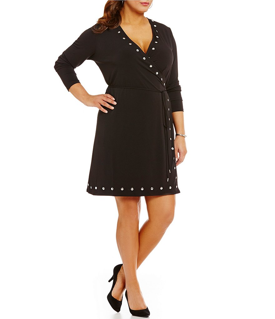 MICHAEL Michael Kors Plus Dome Stud Trim Matte Jersey Wrap Dress