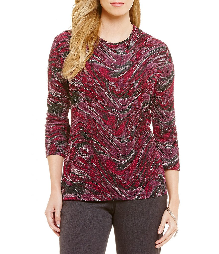 Allison Daley Crew Neck 3/4 Sleeve Printed Knit Top