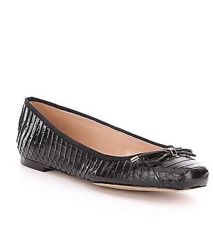 Karl Lagerfeld Paris Talia Snake Embossed Leather Slip-On Ballet Flats