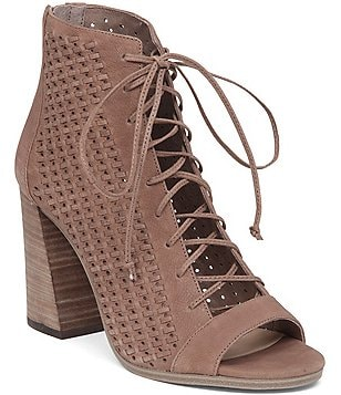 Vince Camuto Kevina Perforated Leather Peep-Toe Ghillie Booties