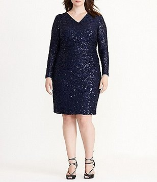 Lauren Ralph Lauren Plus Sequined-Lace Surplice Dress