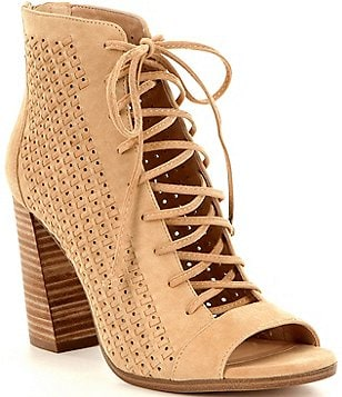 Vince Camuto Kevina Perforated Suede Block Heel Ghillie Peep-Toe Booties