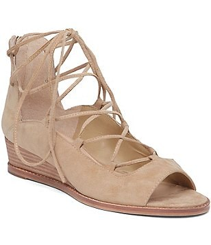Vince Camuto Rochela Lace-Up Suede Peep-Toe Wedges