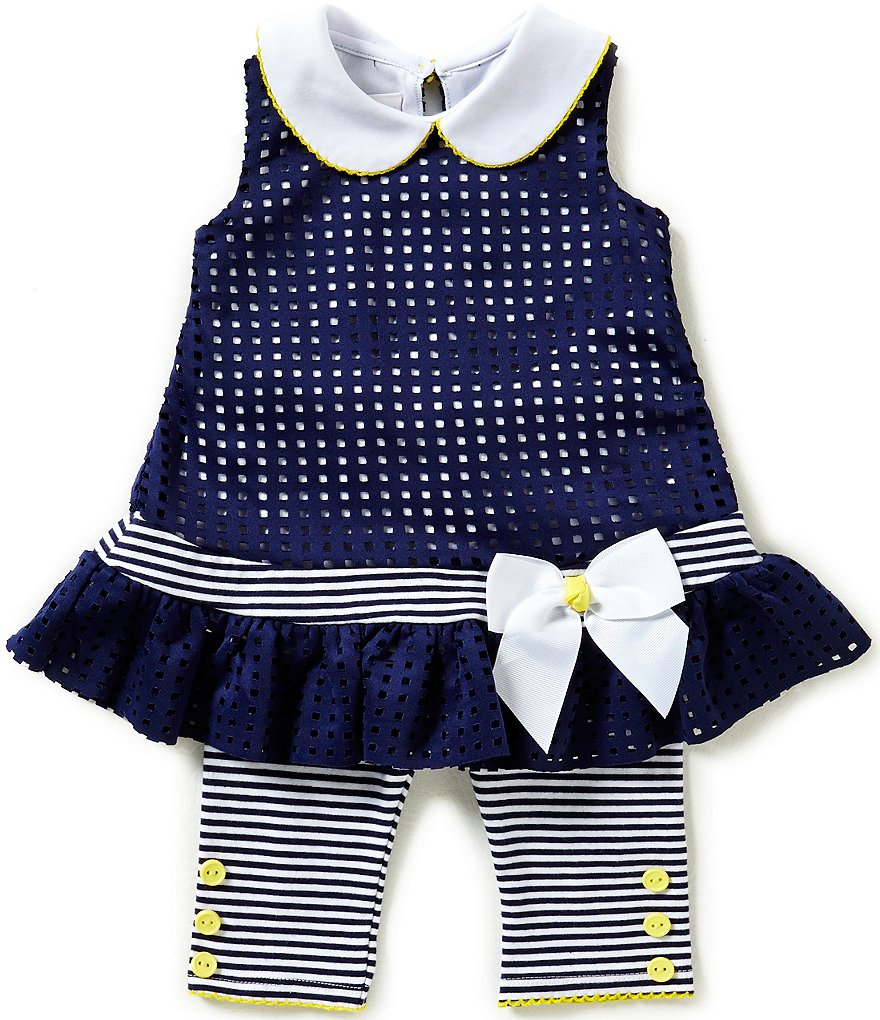 Bonnie Baby Girls 12-24 Months Laser Cut Drop Waist Dress & Capri Leggings Set