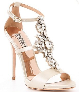 Badgley Mischka Basile Satin Jeweled Dress Sandals