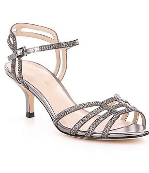 Pelle Moda Alia Metallic Suede Stone Embellished Kitten Heel Dress Sandals