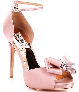 Badgley Mischka Becky Satin Bow Detail Ankle Strap Dress Sandals
