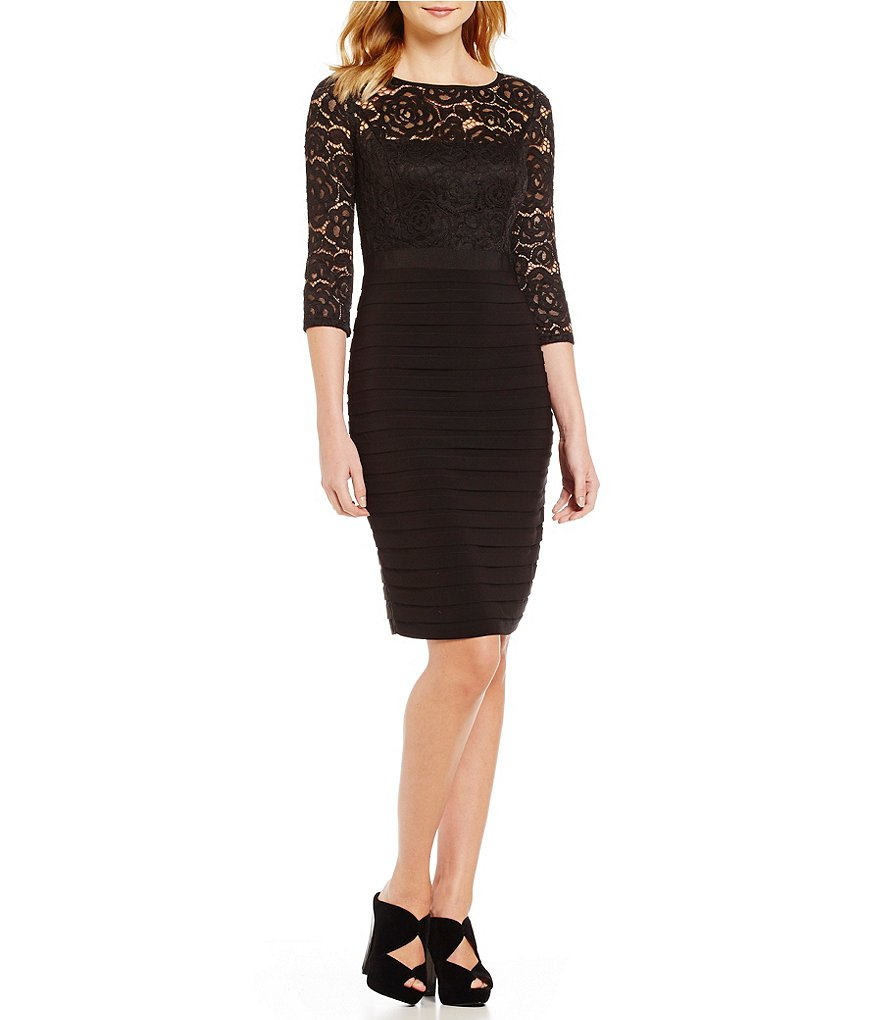 Adrianna Papell 3/4 Sleeve Lace Banded Bodice Dress