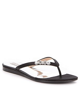 Badgley Mischka Bellmont Satin Slip-On Thong Sandals