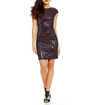 S.L. Fashions Short-Sleeve Allover Sequined Dress