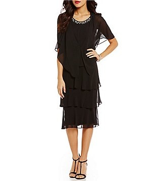 S.L. Fashions Pearl Applique Drape Back Tiered Jacket Dress