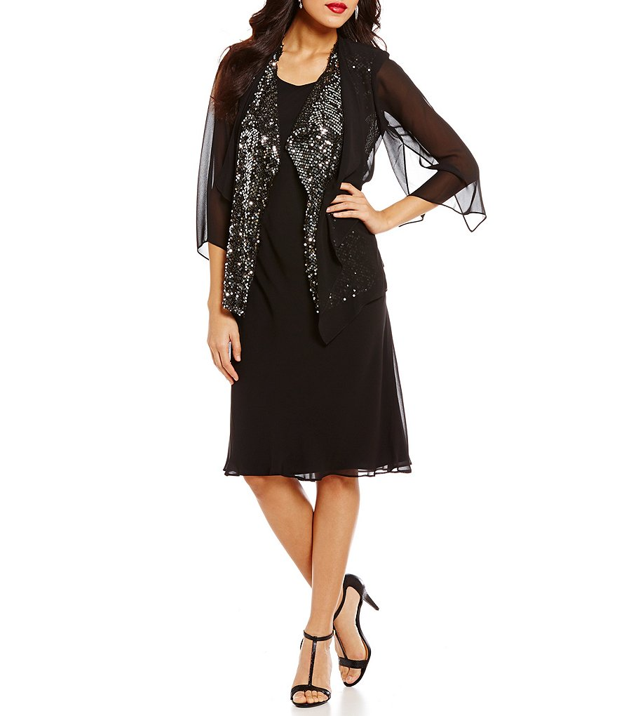 S.L. Fashions Sequined Chiffon Jacket Dress