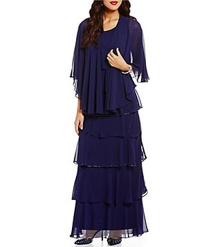 S.L. Fashions Long Beaded Tiered Trim Jacket Dress