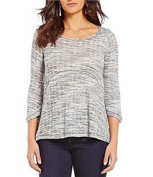 One World Apparel 3/4 Sleeve Textured Stripe High-Low Top