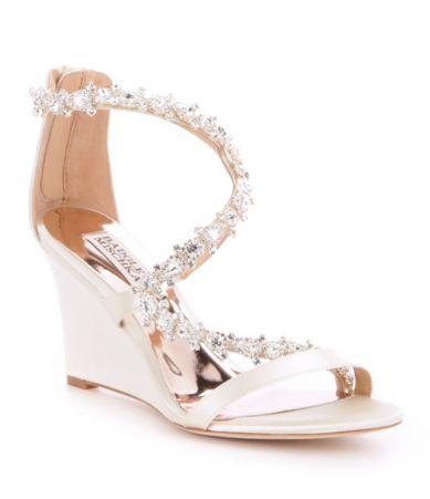76728507f60 Badgley Mischka Bennet Satin Stone Embellished Wedge Sandals
