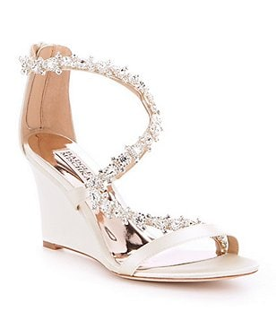 Badgley Mischka Bennet Satin Stone Embellished Wedge Sandals