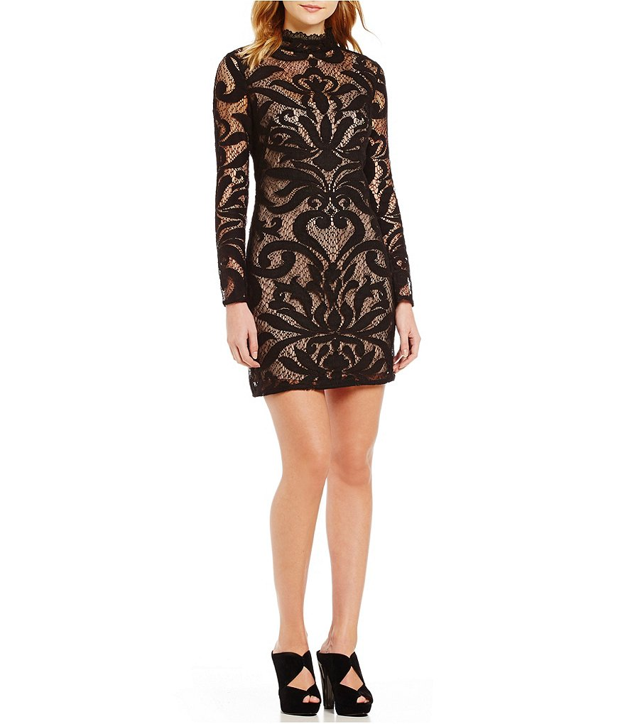 Adrianna Papell Mock Neck Deco Lace Shift Dress