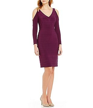 Adrianna Papell Banded Cold Shoulder Sheath Dress