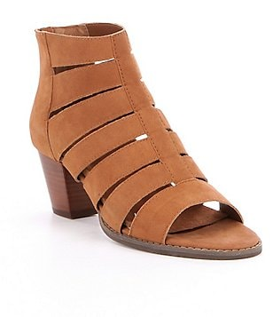 Vionic Aloft Harlow Gladiator Leather Peep Toe Caged Booties