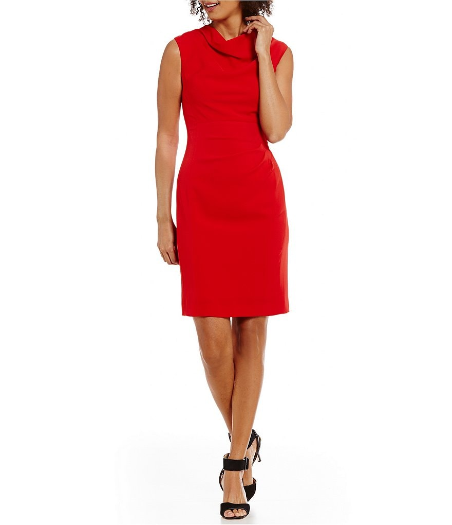 Tahari ASL Petite Cowl Neck Ruched Solid Crepe Sheath Dress