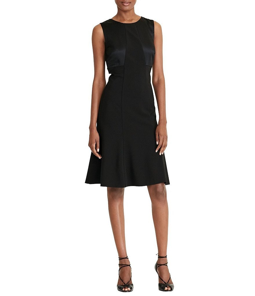 Lauren Ralph Lauren Bow-Back Black Fit-and-Flare Dress