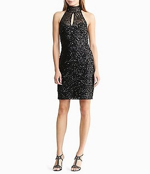 Lauren Ralph Lauren Sequined Halter Neck Dress