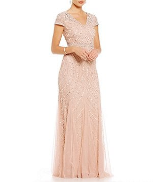 Adrianna Papell Petite V-Neck Cap Sleeve Sequin Beaded Lace Gown