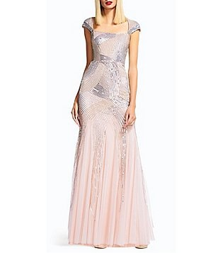 Adrianna Papell Petite A-line Cap Sleeve Beaded Envelope Back Gown