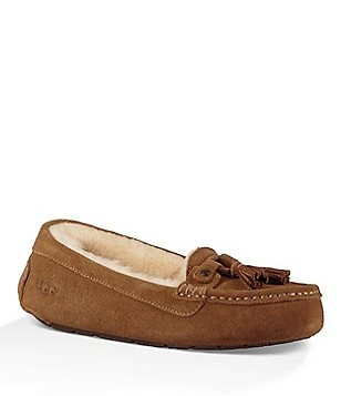 UGG® Litney Suede Lace & Tassel Slip-On Slippers