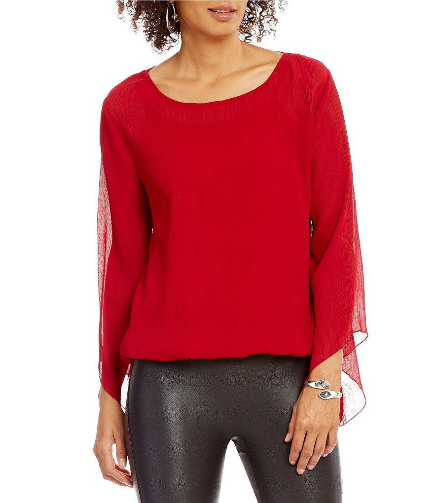 Nicola Pleated Bubble Hem Long Sleeve Blouse