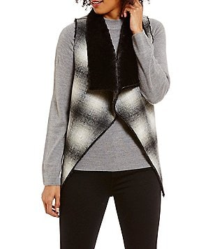 Ruyi Sleeveless Open Front Faux-Fur & Plaid Reversible Vest