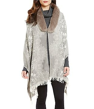 Ruyi Fringed Tapestry Wrap with Faux-Fur Collar