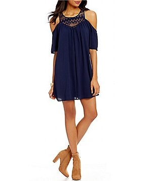 Sequin Hearts Lace Yoke Cold-Shoulder Shift Dress