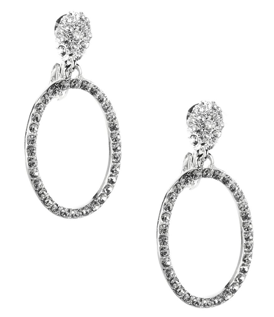 Anne Klein Bling It On Drop Hoop Clip-On Earrings