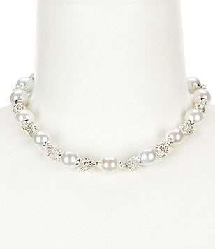 Anne Klein Pearl Diaries Faux-Pearl & Crystal Collar Necklace