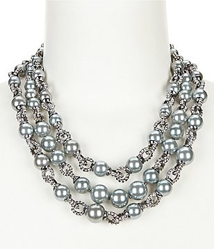 Anne Klein Pearl Diaries Multi-Row Faux-Pearl & Crystal Statement Necklace