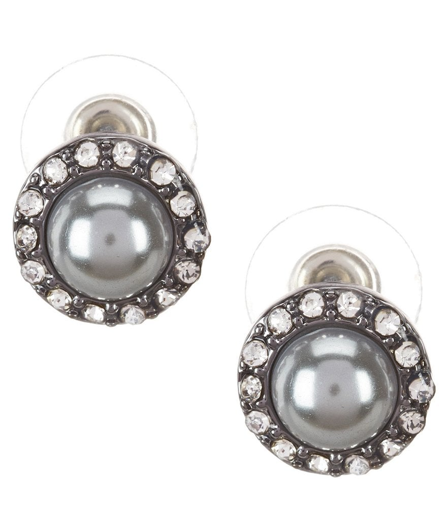 Anne Klein Pearl Diaries Faux-Pearl & Crystal Stud Earrings