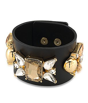 Trina Turk Sparkle and Shine Leather-Strap Jeweled Bracelet