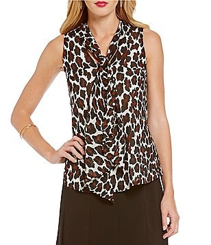 Trina Turk Sassy Tie-Neck Sleeveless Top