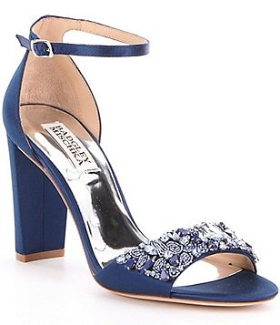 Badgley Mischka Barby Satin Jeweled Dress Sandals