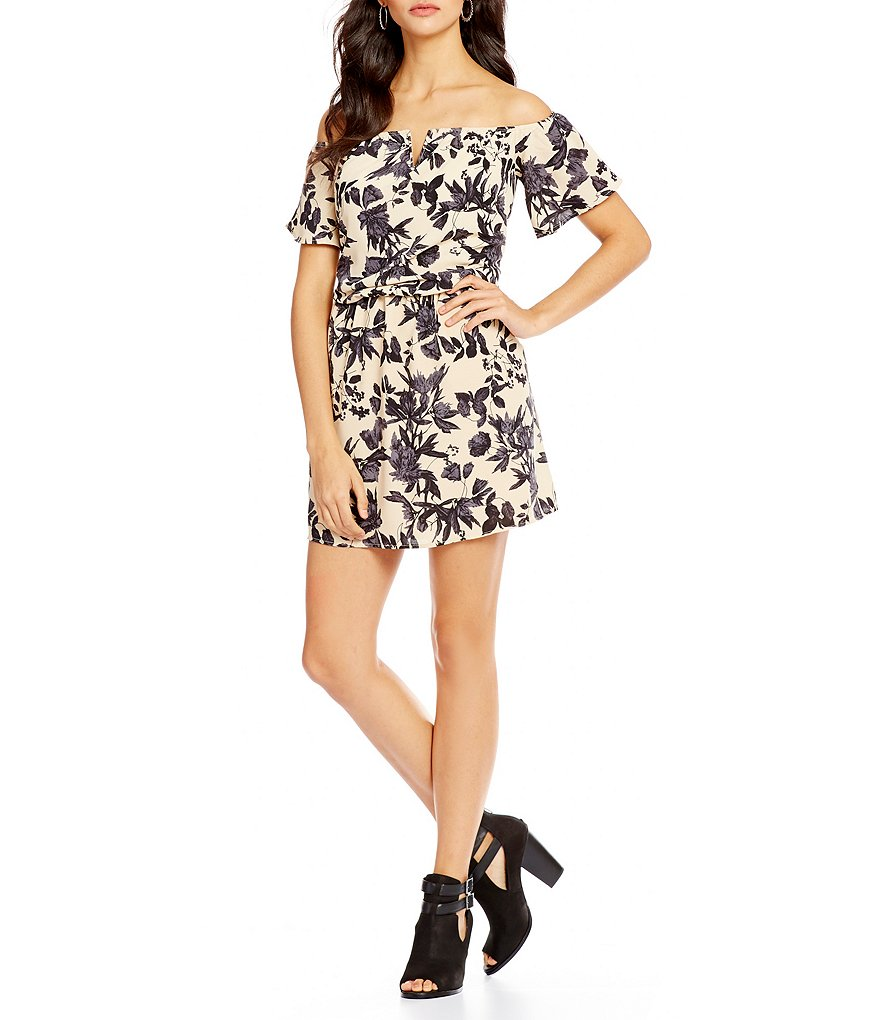 C&V Chelsea & Violet Floral Print Off-the-Shoulder Dress