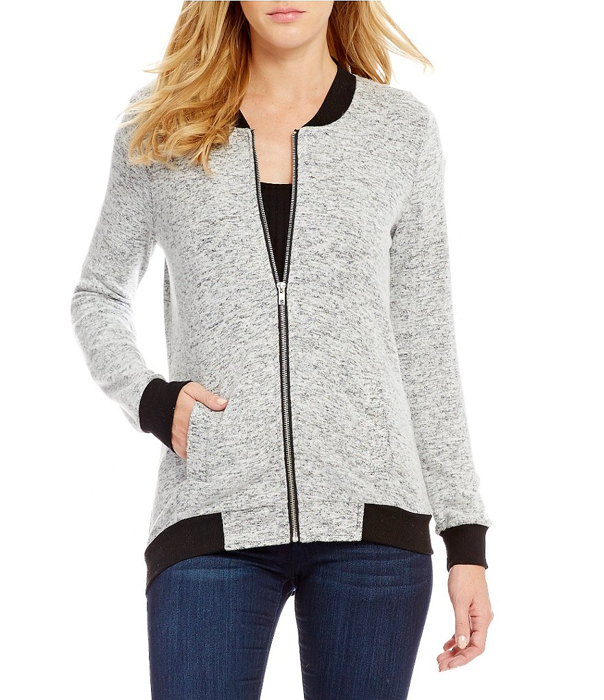 Miss Chievous Marled Hacci Bomber Jacket