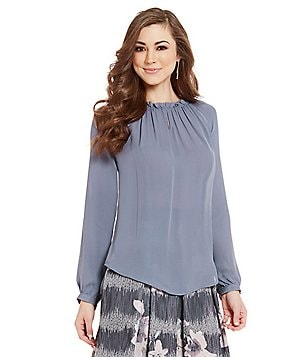 Antonio Melani Jenae Round Neck Long Sleeve Silk Peasant Blouse