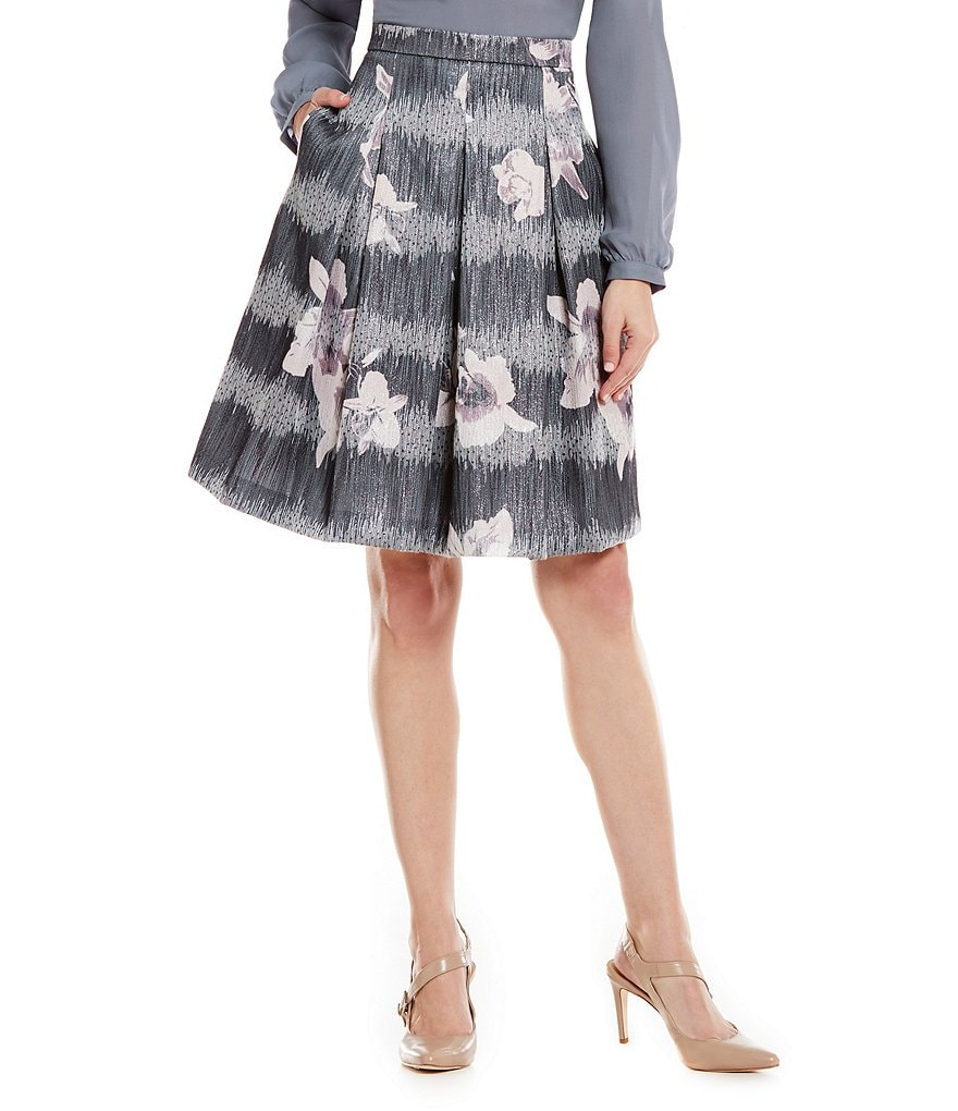Antonio Melani Whitney Pleated A-Line Printed Novelty Skirt