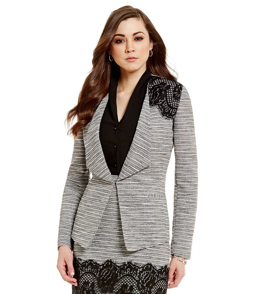 Antonio Melani Patti Shawl Collar Lined Tweed & Lace Jacket